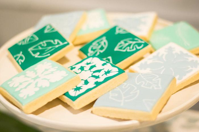 Tropical Leaf Cookies from an Island Baby Shower on Kara's Party Ideas | KarasPartyIdeas.com (29)