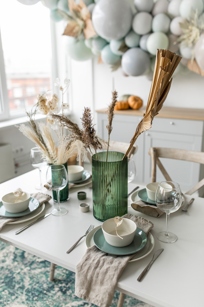 Guest Tablescape from a Monochromatic Boho Harvest Birthday Party on Kara's Party Ideas   KarasPartyIdeas.com (21)