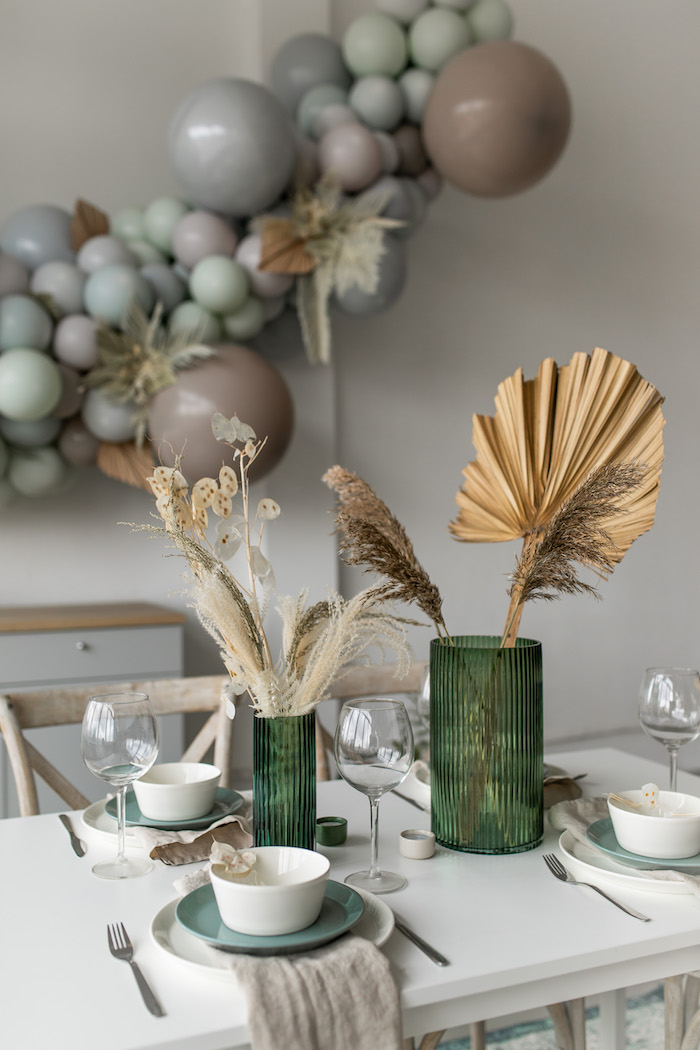 Monochromatic Guest Table from a Monochromatic Boho Harvest Birthday Party on Kara's Party Ideas | KarasPartyIdeas.com (19)