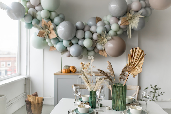 Monochromatic-decorated Guest Table from a Monochromatic Boho Harvest Birthday Party on Kara's Party Ideas | KarasPartyIdeas.com (18)