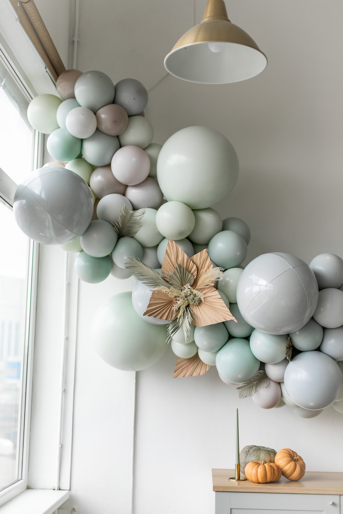 Monochromatic Balloon Install from a Monochromatic Boho Harvest Birthday Party on Kara's Party Ideas | KarasPartyIdeas.com (17)