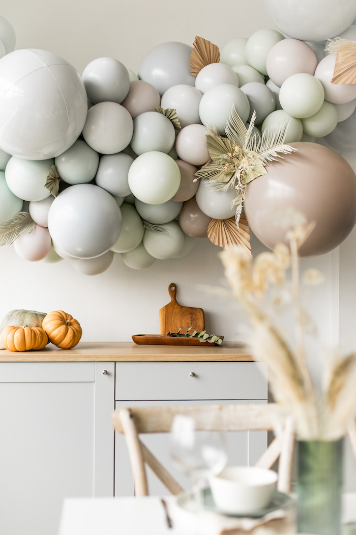 Monochromatic Balloon Install from a Monochromatic Boho Harvest Birthday Party on Kara's Party Ideas | KarasPartyIdeas.com (16)