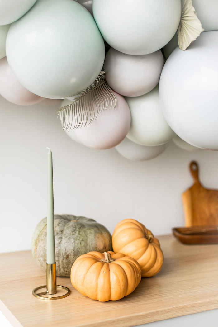 Candle and Pumpkins from a Monochromatic Boho Harvest Birthday Party on Kara's Party Ideas | KarasPartyIdeas.com (15)