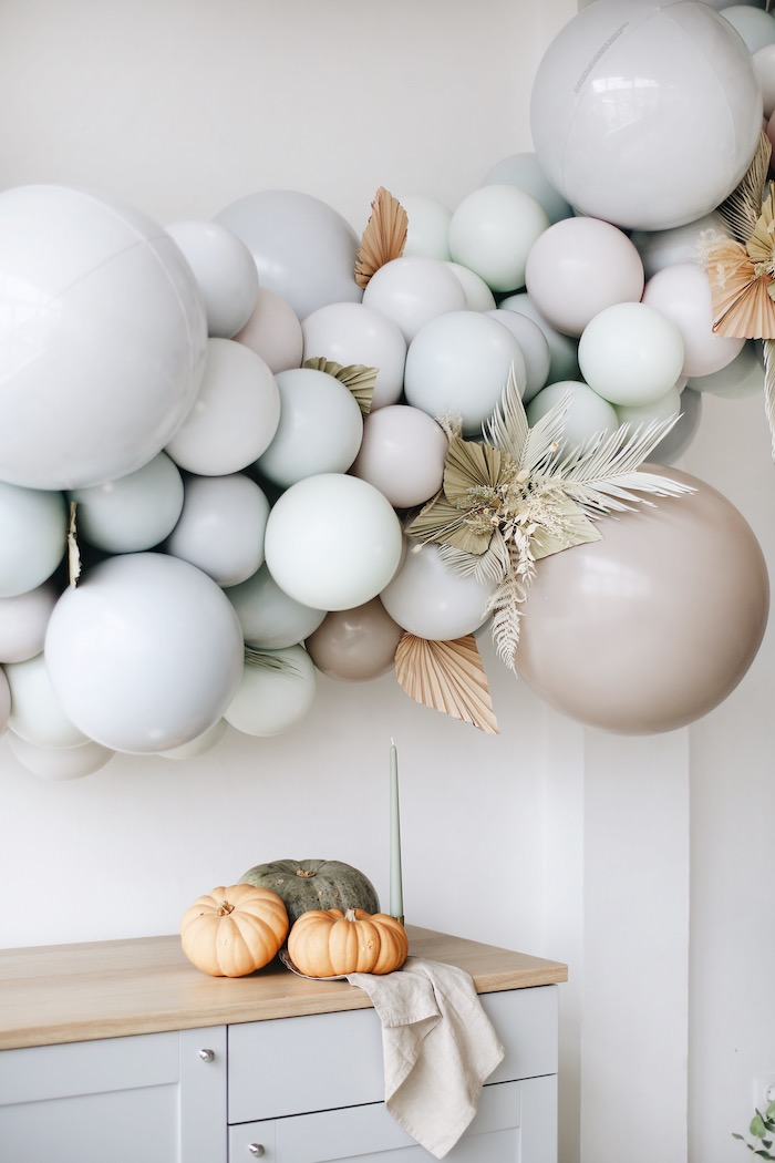 Harvest Balloon Install + Pumpkins from a Monochromatic Boho Harvest Birthday Party on Kara's Party Ideas | KarasPartyIdeas.com (8)