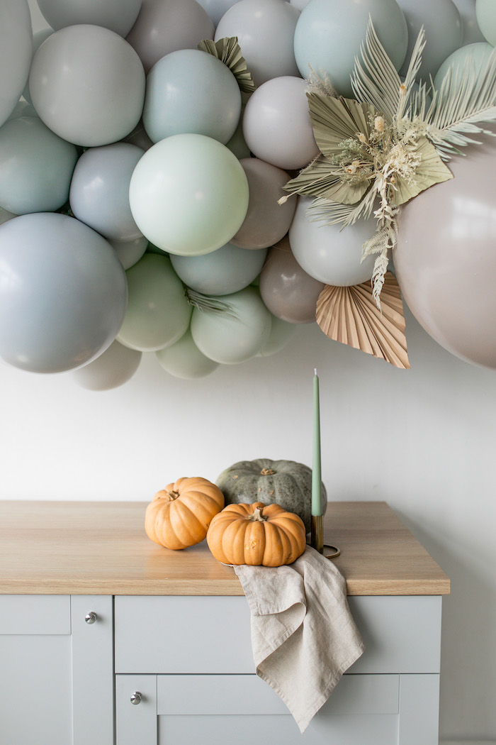 Candle, Pumpkins and Dish Towel Decoration from a Monochromatic Boho Harvest Birthday Party on Kara's Party Ideas | KarasPartyIdeas.com (29)