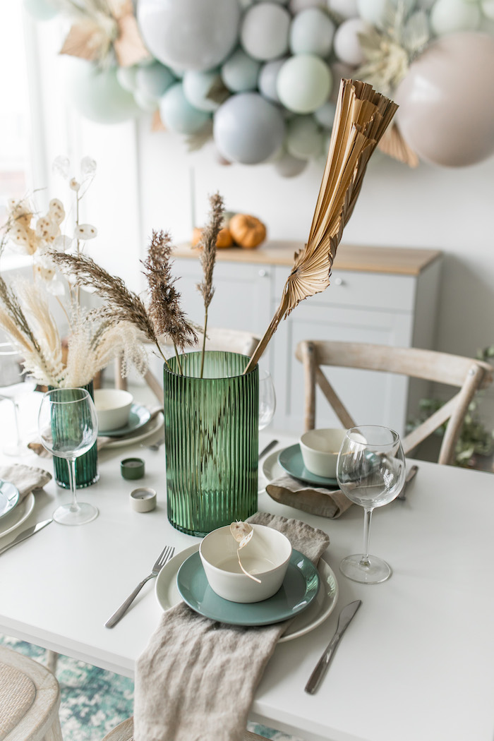 Neutral-colored Harvest Guest Table from a Monochromatic Boho Harvest Birthday Party on Kara's Party Ideas | KarasPartyIdeas.com (24)