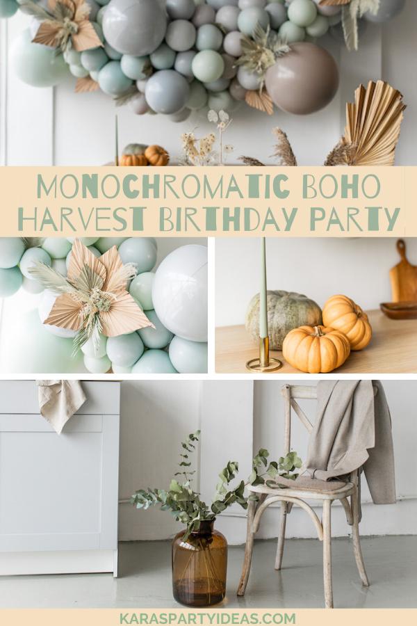 Monochromatic Boho Harvest Birthday Party via KarasPartyIdeas - KarasPartyIdeas.com