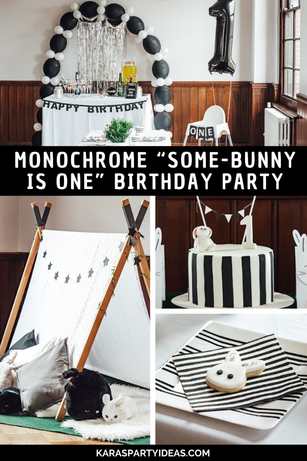 "Monochrome ""Some-Bunny is One"" Birthday Party via Kara's Party Ideas - KarasPartyIdeas.com"