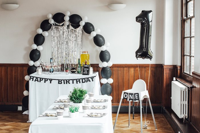 "Black and White Party Tables from a Monochrome ""Some-Bunny is One"" Birthday Party on Kara's Party Ideas 