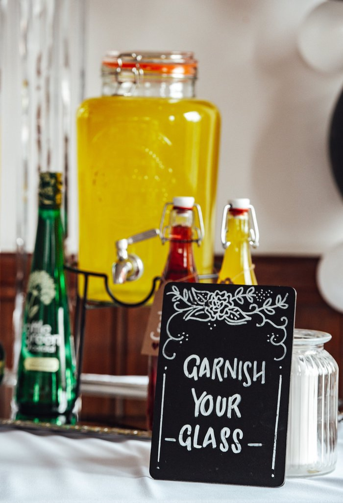 "Garnish Your Glass Chalkboard Sign from a Monochrome ""Some-Bunny is One"" Birthday Party on Kara's Party Ideas 