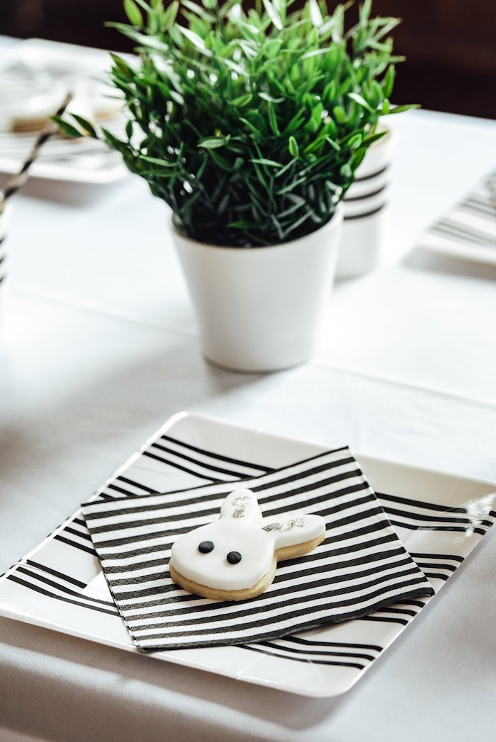 "Black and White Striped Partyware + Table Setting from a Monochrome ""Some-Bunny is One"" Birthday Party on Kara's Party Ideas 