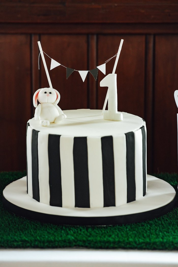"Black and White Striped Bunny Cake from a Monochrome ""Some-Bunny is One"" Birthday Party on Kara's Party Ideas 
