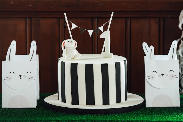 "Black and White Striped Cake from a Monochrome ""Some-Bunny is One"" Birthday Party on Kara's Party Ideas 