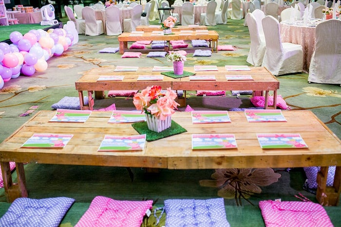 Low-seated Wood Kid Tables from a Peppa Pig Birthday Party on Kara's Party Ideas | KarasPartyIdeas.com (19)