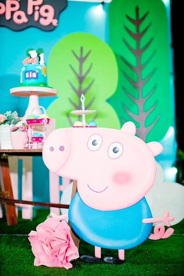 George Pig Standee from a Peppa Pig Birthday Party on Kara's Party Ideas | KarasPartyIdeas.com (18)