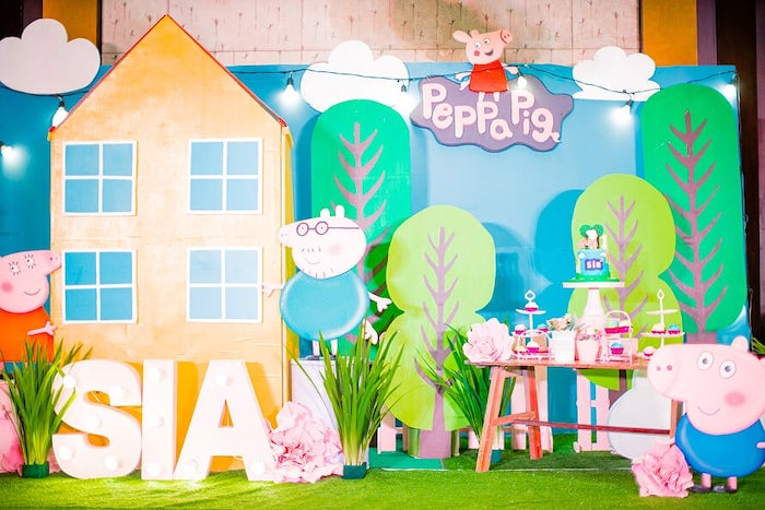 Peppa Pig House-inspired Dessert Table from a Peppa Pig Birthday Party on Kara's Party Ideas | KarasPartyIdeas.com (14)