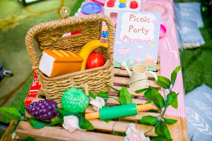Picnic - Playdoh Activity Table from a Peppa Pig Birthday Party on Kara's Party Ideas | KarasPartyIdeas.com (9)