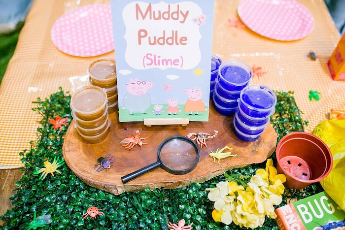 Muddy Puddle - Slime Table from a Peppa Pig Birthday Party on Kara's Party Ideas | KarasPartyIdeas.com (8)