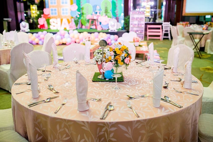 Peppa Pig-inspired Guest Table from a Peppa Pig Birthday Party on Kara's Party Ideas | KarasPartyIdeas.com (23)