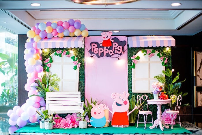 Peppa Pig Backdrop + Photo Booth from a Peppa Pig Birthday Party on Kara's Party Ideas | KarasPartyIdeas.com (20)