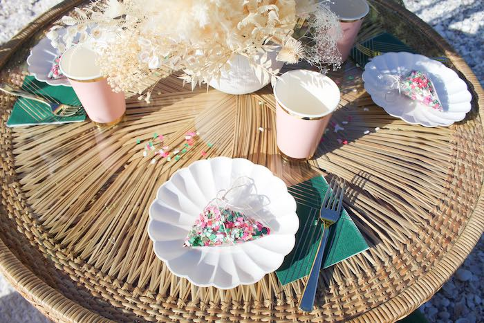 Scallop Plate Table Setting from a Pink & Green Boho Beach Party on Kara's Party Ideas | KarasPartyIdeas.com (16)