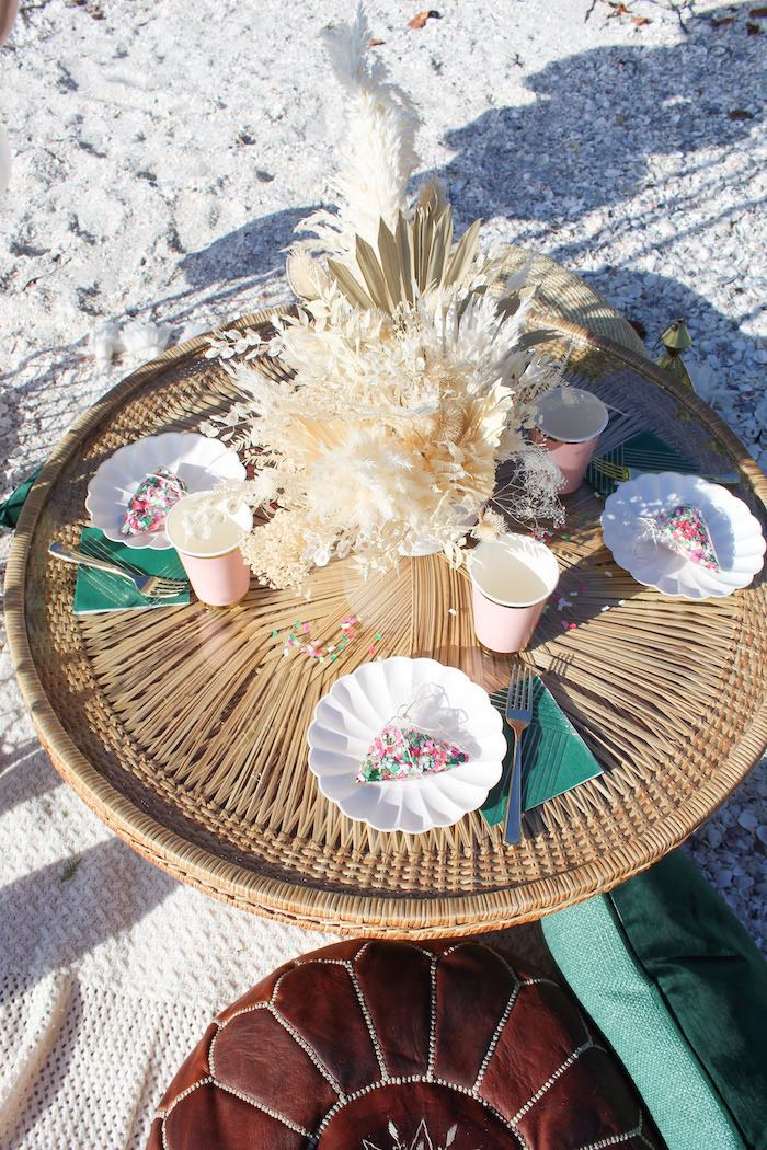 Bamboo Party Table from a Pink & Green Boho Beach Party on Kara's Party Ideas | KarasPartyIdeas.com (13)