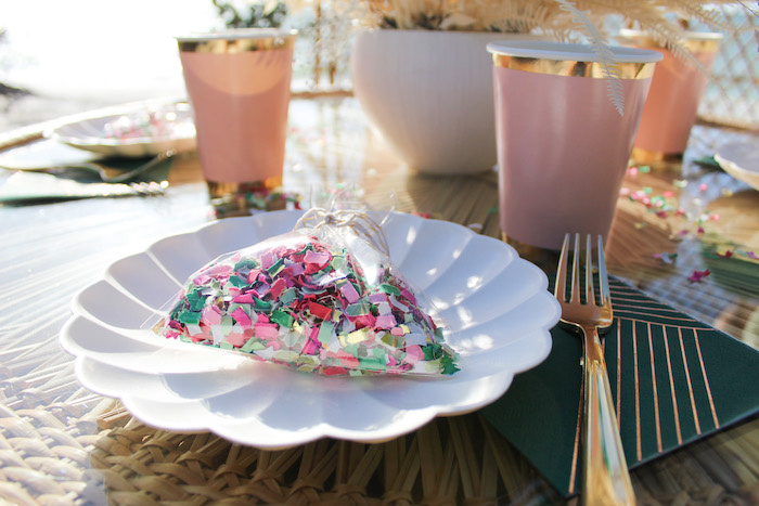 Custom Confetti Bag from a Pink & Green Boho Beach Party on Kara's Party Ideas | KarasPartyIdeas.com (12)