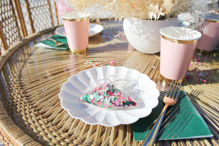 Pink + Green + Gold + White Table Setting from a Pink & Green Boho Beach Party on Kara's Party Ideas | KarasPartyIdeas.com (11)