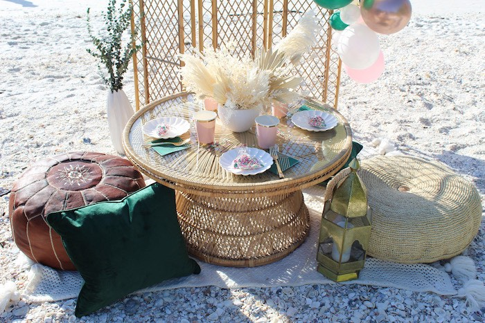 Small Bamboo Dining Table from a Pink & Green Boho Beach Party on Kara's Party Ideas | KarasPartyIdeas.com (9)