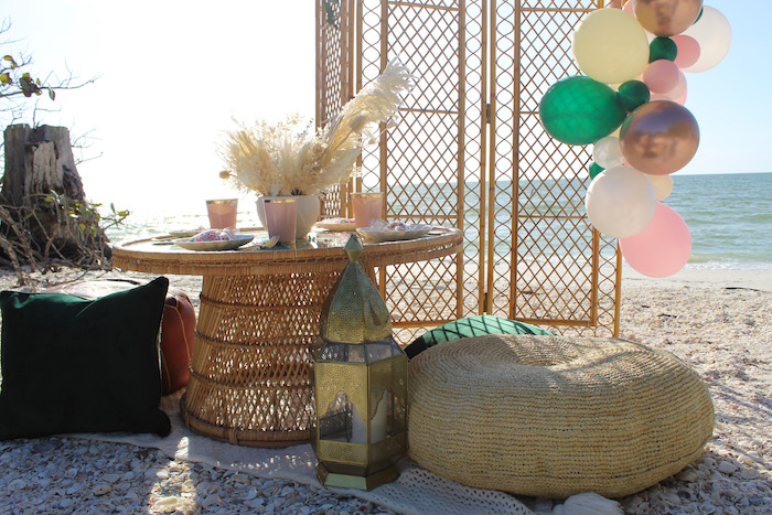 Boho Bamboo Table from a Pink & Green Boho Beach Party on Kara's Party Ideas | KarasPartyIdeas.com (8)