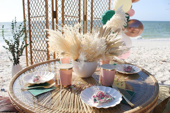 Boho Bamboo Tablescape from a Pink & Green Boho Beach Party on Kara's Party Ideas | KarasPartyIdeas.com (7)