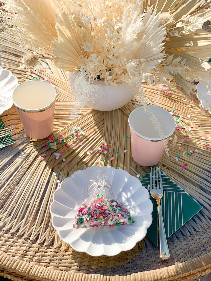 White Scallop Plate Table Setting from a Pink & Green Boho Beach Party on Kara's Party Ideas | KarasPartyIdeas.com (23)