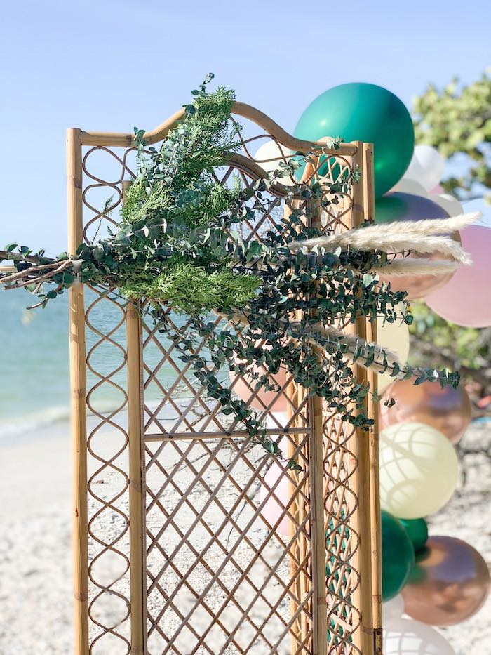 Dried Greenery Floral Arrangement from a Pink & Green Boho Beach Party on Kara's Party Ideas | KarasPartyIdeas.com (22)
