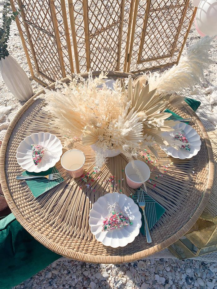 Boho-inspired Bamboo Dining Table from a Pink & Green Boho Beach Party on Kara's Party Ideas | KarasPartyIdeas.com (20)