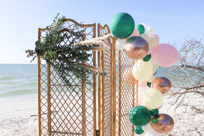 Bamboo Screen with Balloon Install from a Pink & Green Boho Beach Party on Kara's Party Ideas | KarasPartyIdeas.com (19)