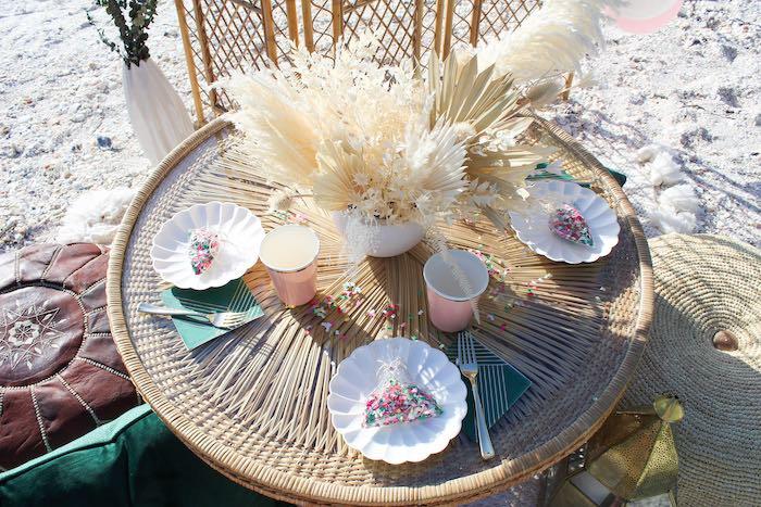 Boho Dining Table from a Pink & Green Boho Beach Party on Kara's Party Ideas | KarasPartyIdeas.com (18)