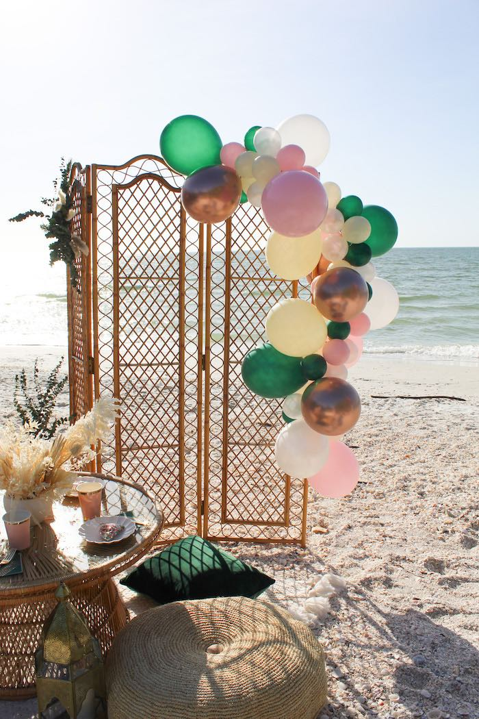 Bamboo Screen with Balloon Install from a Pink & Green Boho Beach Party on Kara's Party Ideas | KarasPartyIdeas.com (17)