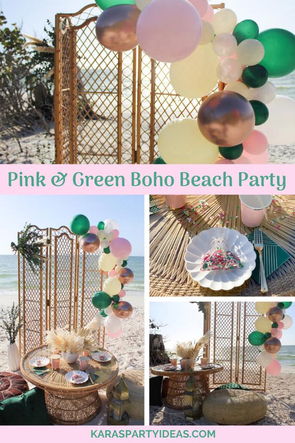 Pink & Green Boho Beach Party via Kara's Party Ideas - KarasPartyIdeas.com