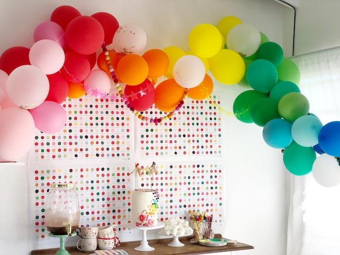 Rainbow Party Table from a Rainbow Christmas Birthday Party on Kara's Party Ideas | KarasPartyIdeas.com (35)