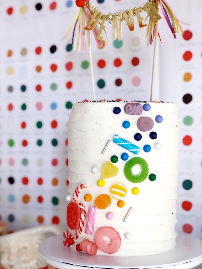 Candy-covered Rainbow Cake from a Rainbow Christmas Birthday Party on Kara's Party Ideas | KarasPartyIdeas.com (33)