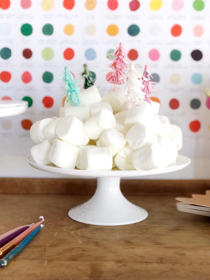 Christmas Tree-topped Marshmallows from a Rainbow Christmas Birthday Party on Kara's Party Ideas | KarasPartyIdeas.com (32)