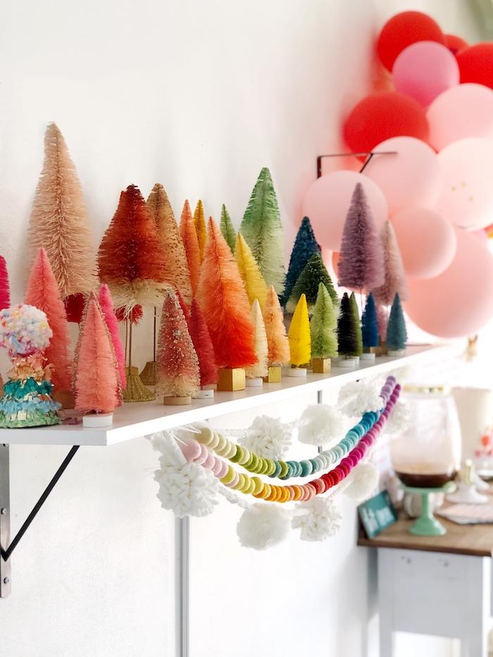 Rainbow-inspired Bottlebrush Tree Decorations from a Rainbow Christmas Birthday Party on Kara's Party Ideas | KarasPartyIdeas.com (27)
