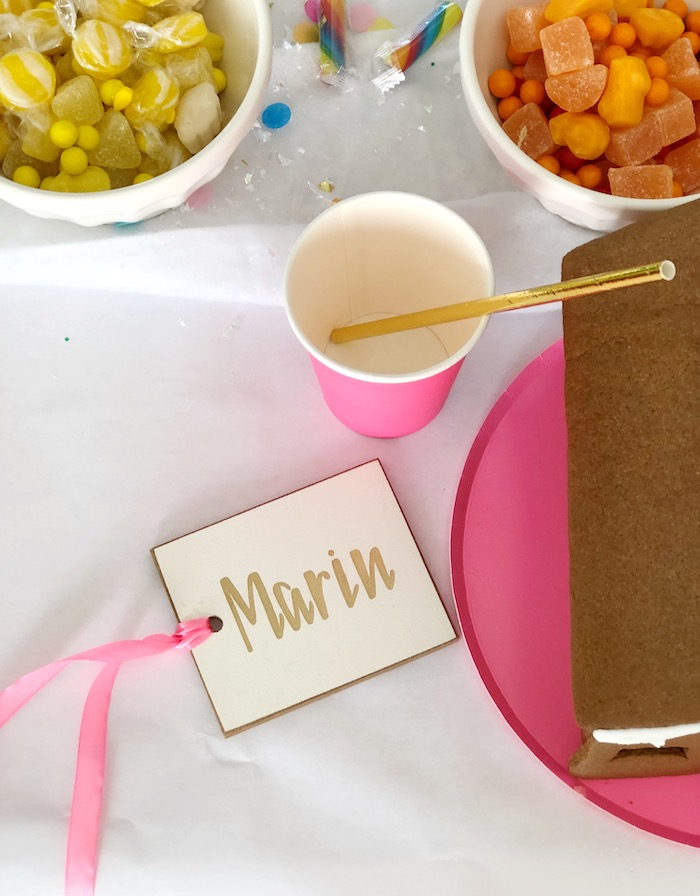 Color-coordinated Table Setting + Name Tag from a Rainbow Christmas Birthday Party on Kara's Party Ideas | KarasPartyIdeas.com (25)