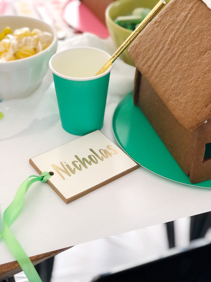 Color-coordinated Table Setting + Name Tag from a Rainbow Christmas Birthday Party on Kara's Party Ideas | KarasPartyIdeas.com (22)