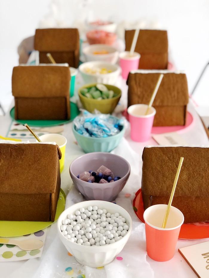 Gingerbread House Decorating Table from a Rainbow Christmas Birthday Party on Kara's Party Ideas | KarasPartyIdeas.com (21)