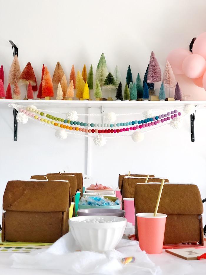 Gingerbread House Decorating Table from a Rainbow Christmas Birthday Party on Kara's Party Ideas | KarasPartyIdeas.com (20)