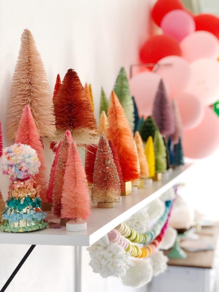Rainbow-inspired Bottlebrush Tree Decorations from a Rainbow Christmas Birthday Party on Kara's Party Ideas | KarasPartyIdeas.com (18)