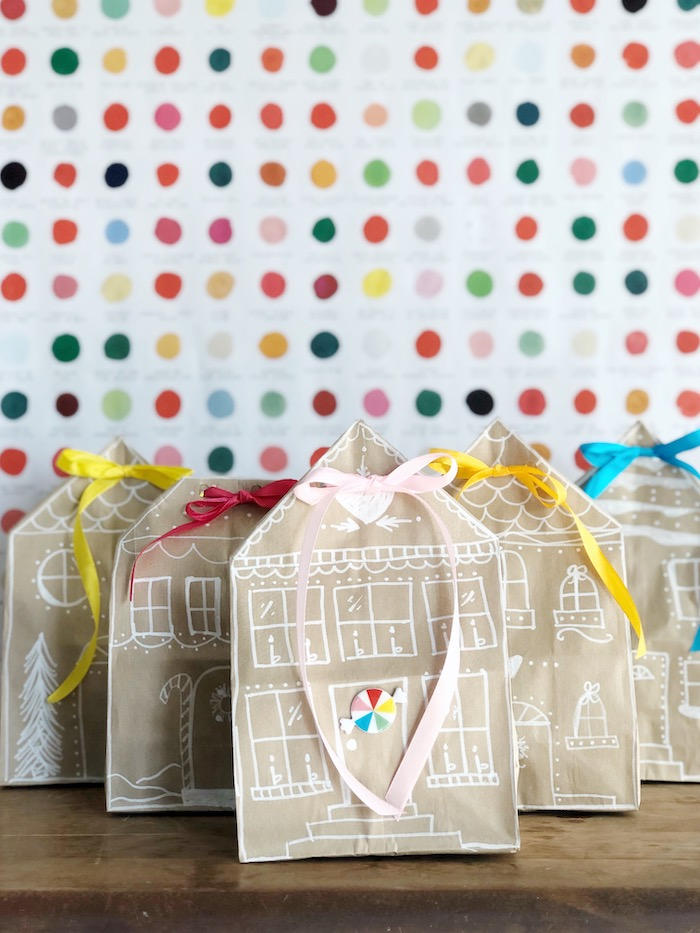 Gingerbread House-inspired Gift Bags from a Rainbow Christmas Birthday Party on Kara's Party Ideas | KarasPartyIdeas.com (44)