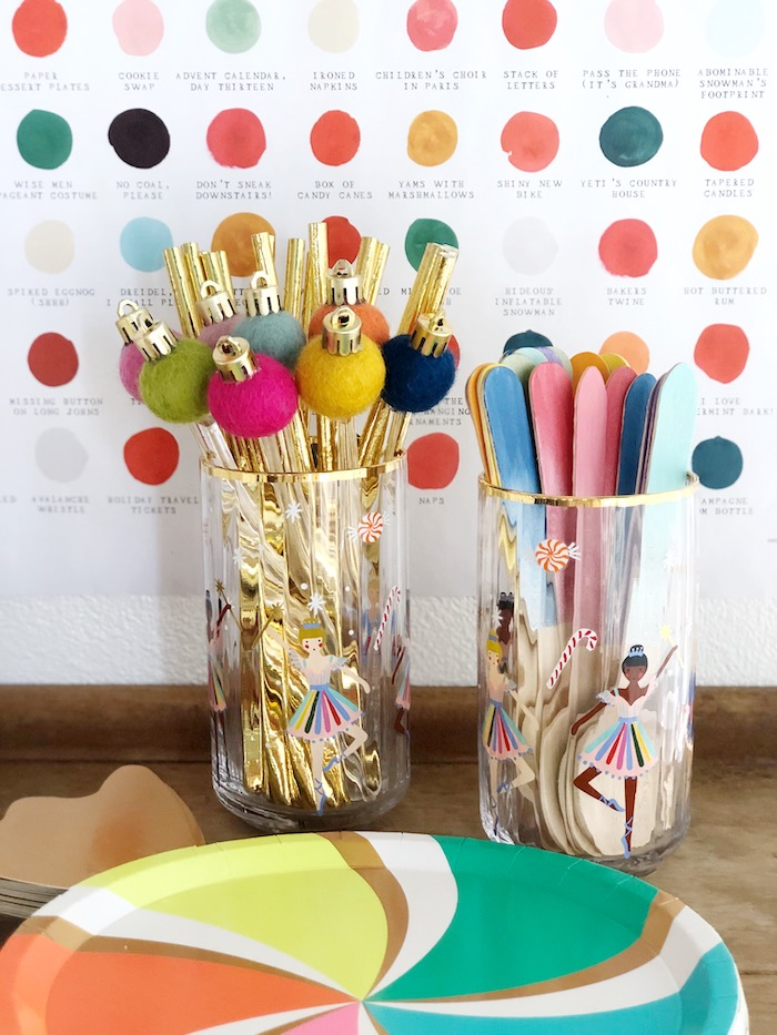 Partyware (Ornament Stirrers, Gold Straws, Rainbow Flatware) from a Rainbow Christmas Birthday Party on Kara's Party Ideas | KarasPartyIdeas.com (15)