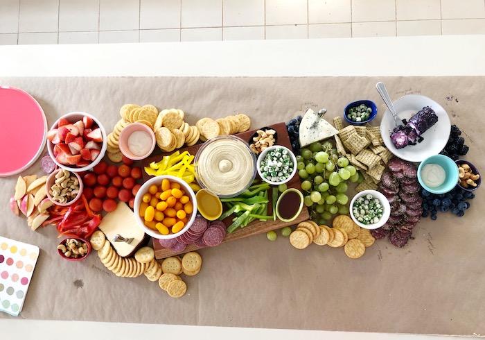 Rainbow Grazing Table from a Rainbow Christmas Birthday Party on Kara's Party Ideas | KarasPartyIdeas.com (8)